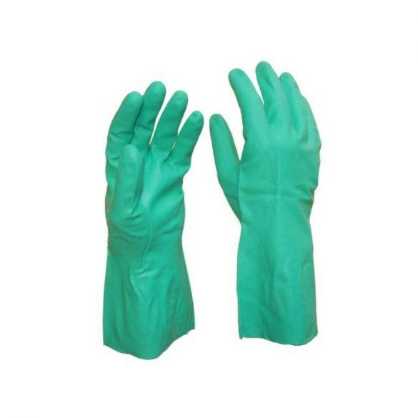 Kesztyű nitril vegyszerálló zöld 7 5507